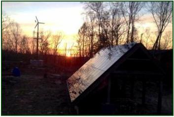 Sunset with Solar Array and Wind Turbine!